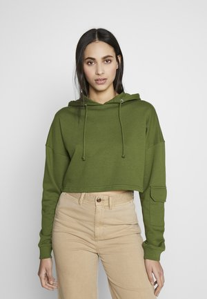 EXCLUSIVE CROPPED DROPPED SHOULDER HOODIE - Mikina skapucí - khaki