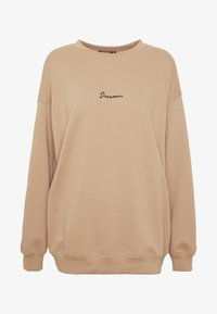 Missguided Tall - DREAMER EMBROIDERED SLOGAN  - Sweatshirt - tan - 4