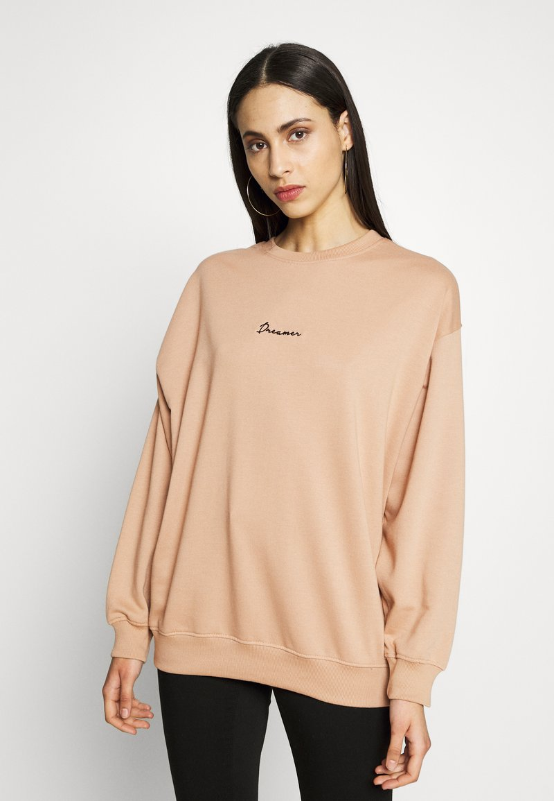 Missguided Tall - DREAMER EMBROIDERED SLOGAN  - Sweatshirt - tan