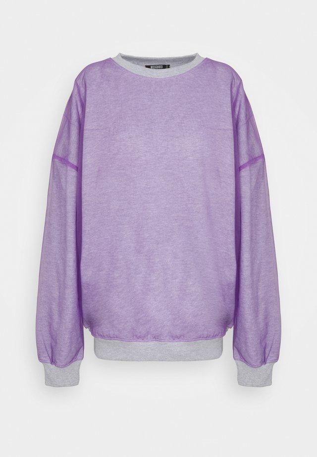 TULLE OVERLAY SWEATSHIRT - Sweatshirts - grey