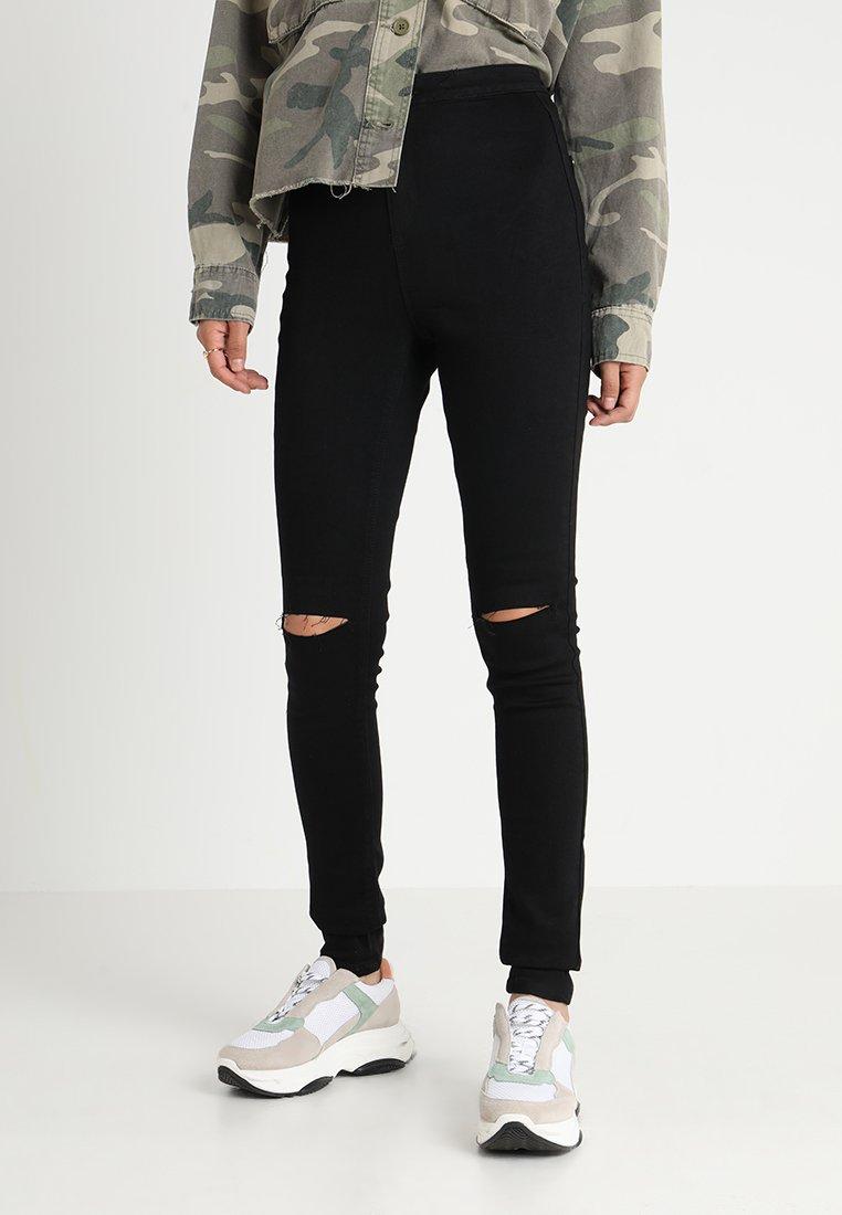 Missguided Tall - VICE HIGHWAISTED SLASH KNEE - Jeans Skinny Fit - black