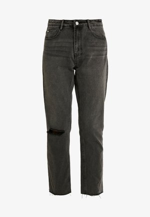 WRATH HIGH WAISTED DOUBLE SLIT RIP STRAIGHT LEG WASHED - Jeans straight leg - washed grey