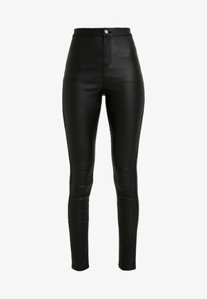 HIGH WAISTED COATED - Trousers - black
