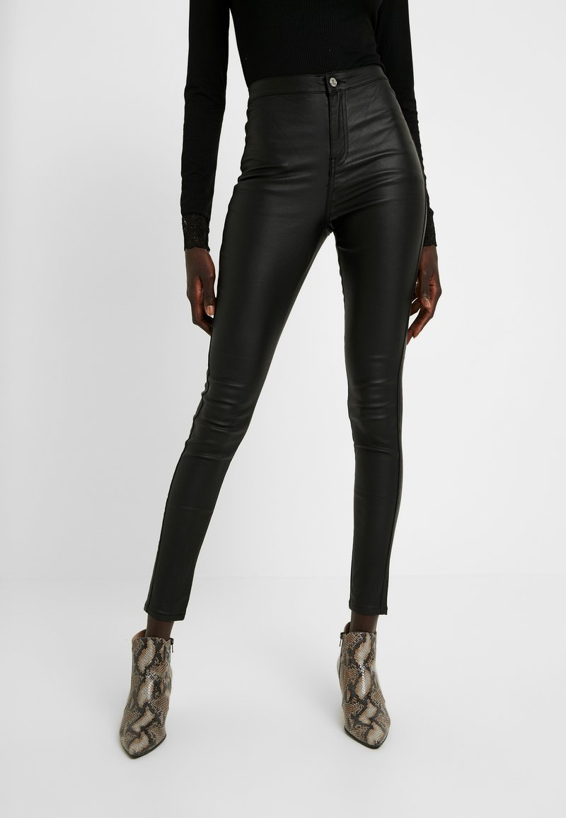 Missguided Tall - HIGH WAISTED COATED - Kalhoty - black