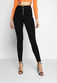 Missguided Tall - VICE BUTTON UP SKINNY  - Skinny džíny - black - 0