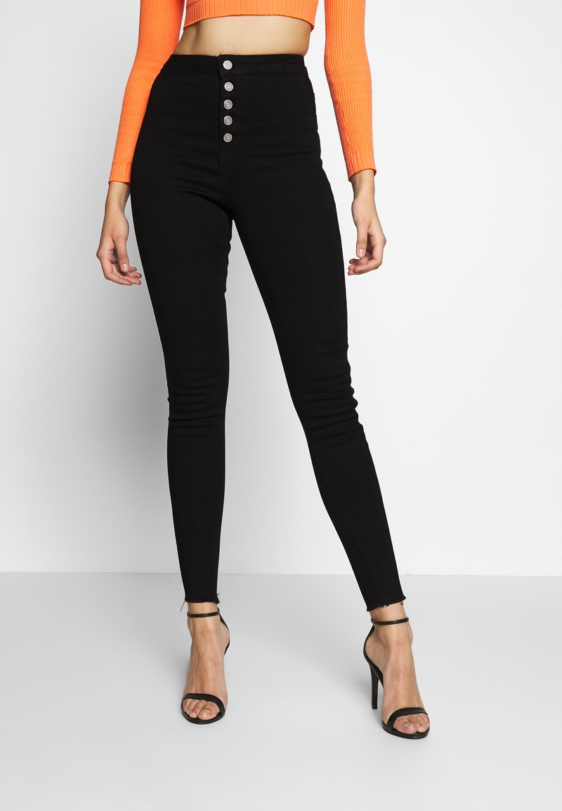 Missguided Tall - VICE BUTTON UP SKINNY  - Skinny džíny - black