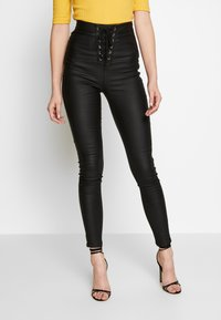 Missguided Tall - VICE COATED FRONT - Jeans Skinny - black - 0