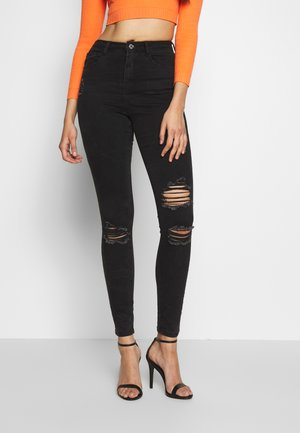 SINNER HIGHWAISTED AUTHENTIC RIPPED SKINNY - Skinny-Farkut - black