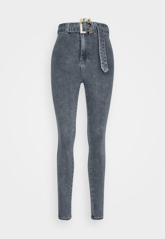 FEATURE BUCKLE BELT SKINNY JEANS - Jeansy Skinny Fit - blue