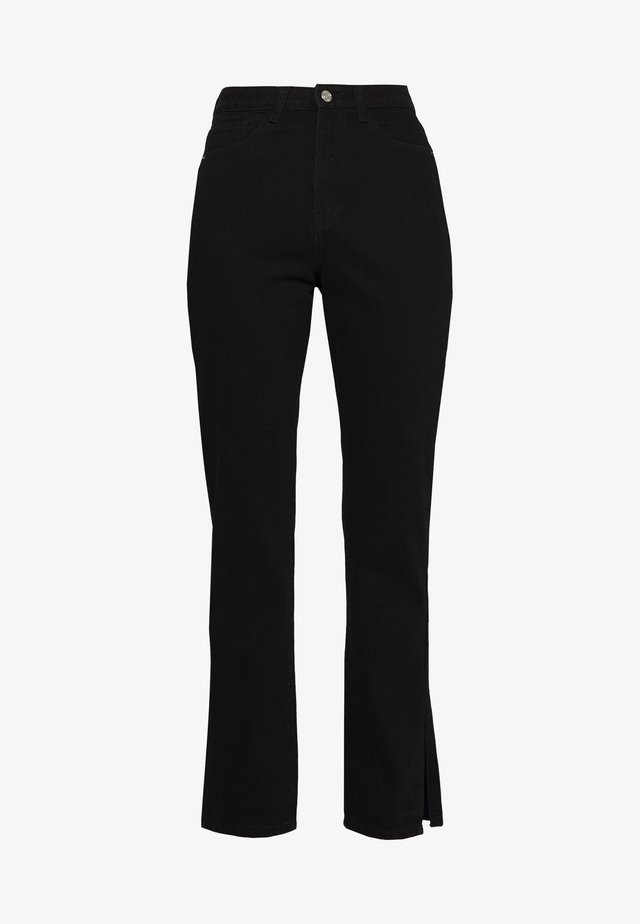WRATH HIGHWAISTED SPLIT HEM LEG JEAN MID WASH - Jean droit - black