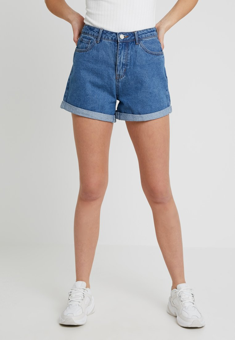 Missguided Tall - HIGHWAISTED TURN UP  - Shorts vaqueros - blue