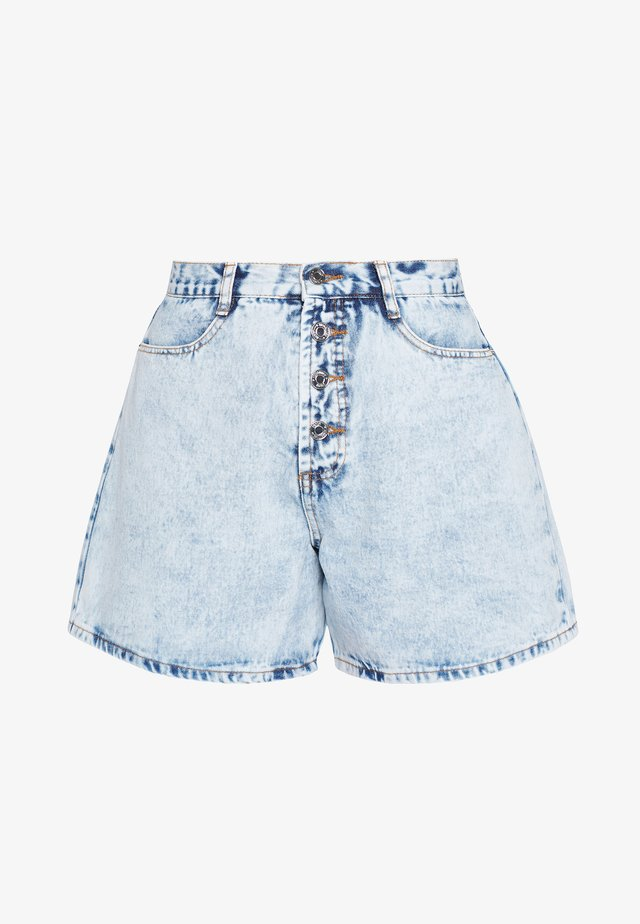 ACID WASH BUTTON MOM  - Farkkushortsit - blue denim
