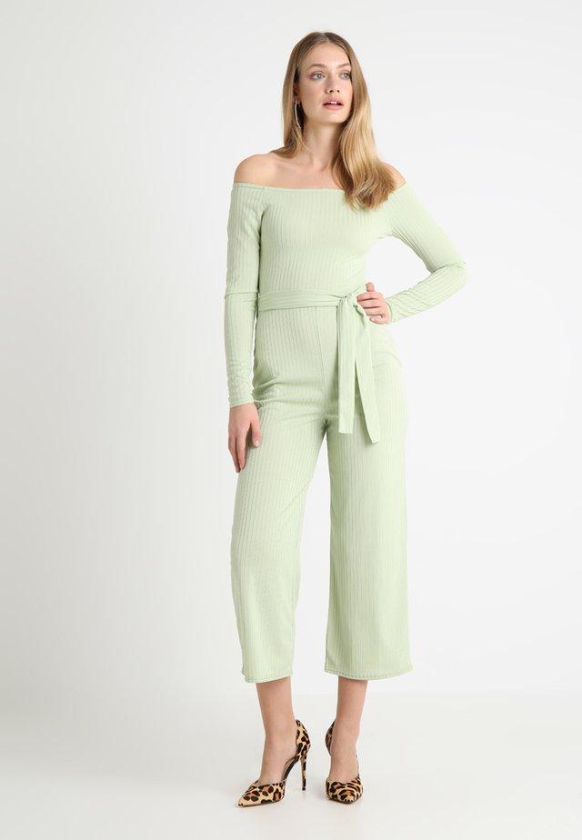 BARDOT BELTED WIDE LEG - Jumpsuit - sage green