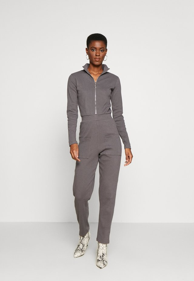 RIBBED ZIP DETAIL - Overal - grey