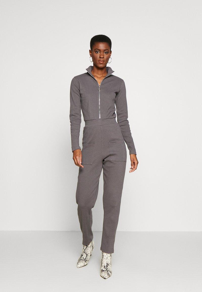 Missguided Tall - RIBBED ZIP DETAIL - Tuta jumpsuit - grey