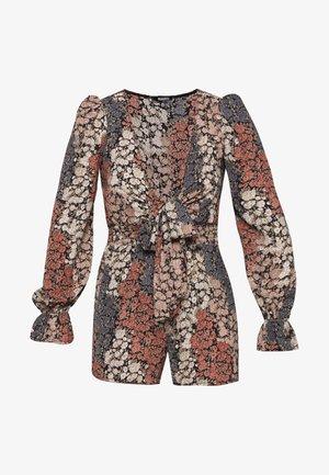 FLORAL TIE FRONT SHIRRED WAIST PLAYSUIT - Jumpsuit - black