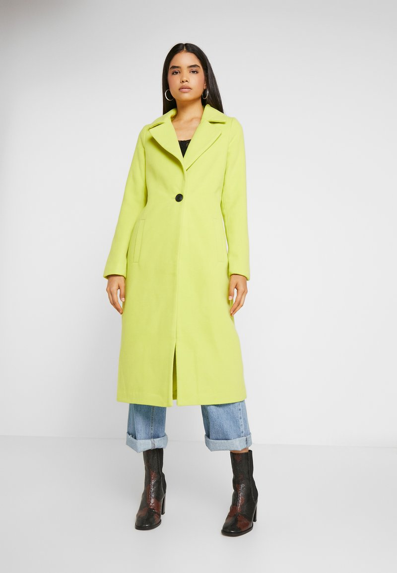 Missguided Tall - SINGLE BUTTON FRONT COAT - Mantel - neon lime