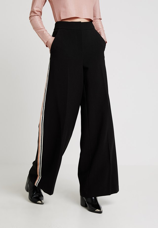 SIDE STRIPE WIDE LEG TROUSER - Trousers - black