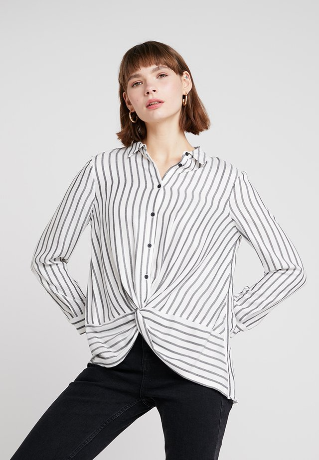 TWIST FRONT STRIPE - Button-down blouse - white