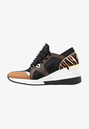 LIV TRAINER - Baskets basses - black/dark camel