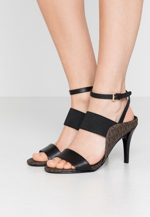 NORA - High heeled sandals - black/brown