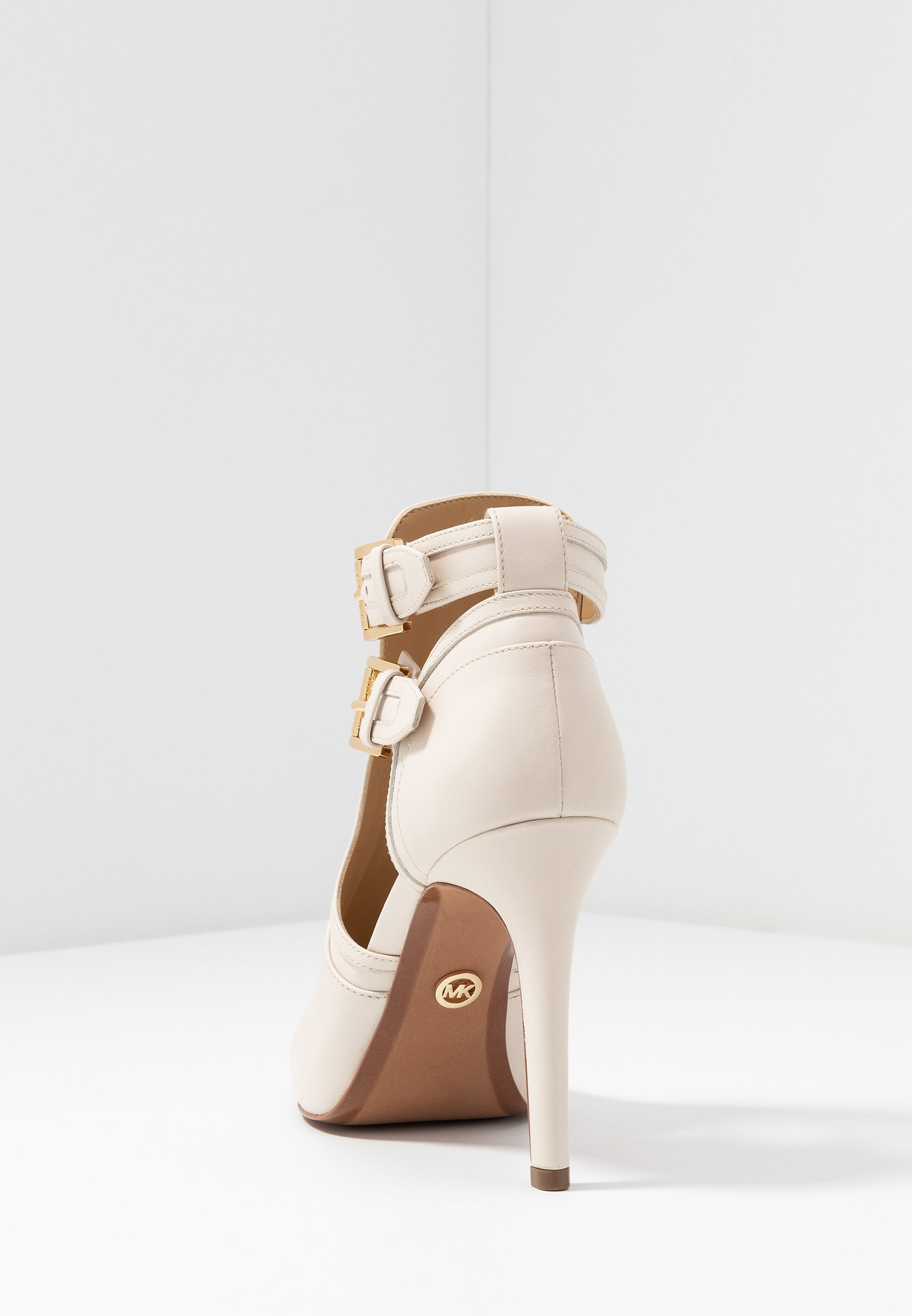 Michael Kors Blaze Open Toe Bootie - High Heeled Ankle Boots Light Cream
