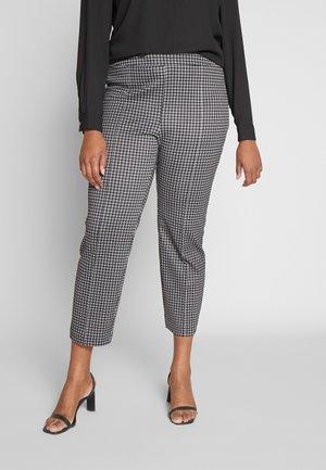 MICRO CHECK CIG CROP - Pantalones - black/white