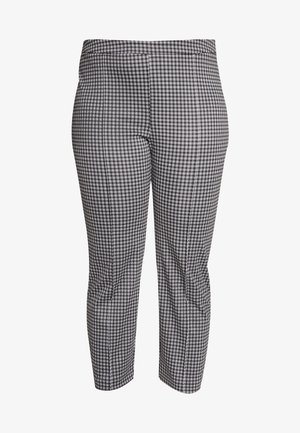 MICRO CHECK CIG CROP - Pantalon classique - black/white