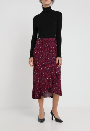 WRAP RUFFLE SKIRT - A-line skirt - true navy/scarlet