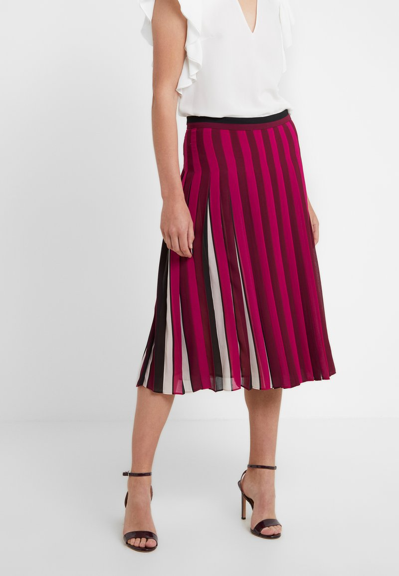 MICHAEL Michael Kors - PLEATED STRIPE SKIRT - A-Linien-Rock - bone/garnet