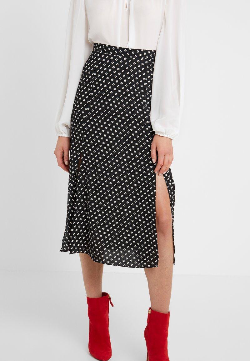 MICHAEL Michael Kors - SLIT FRONT SKIRT - A-line skirt - black/bone