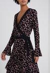 MICHAEL Michael Kors - ROSE WRAP - Jersey dress - black/dusty rose