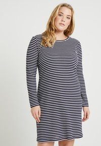 MICHAEL Michael Kors - PLUS STRIPED DRESS - Pletené šaty - true navy/white - 0