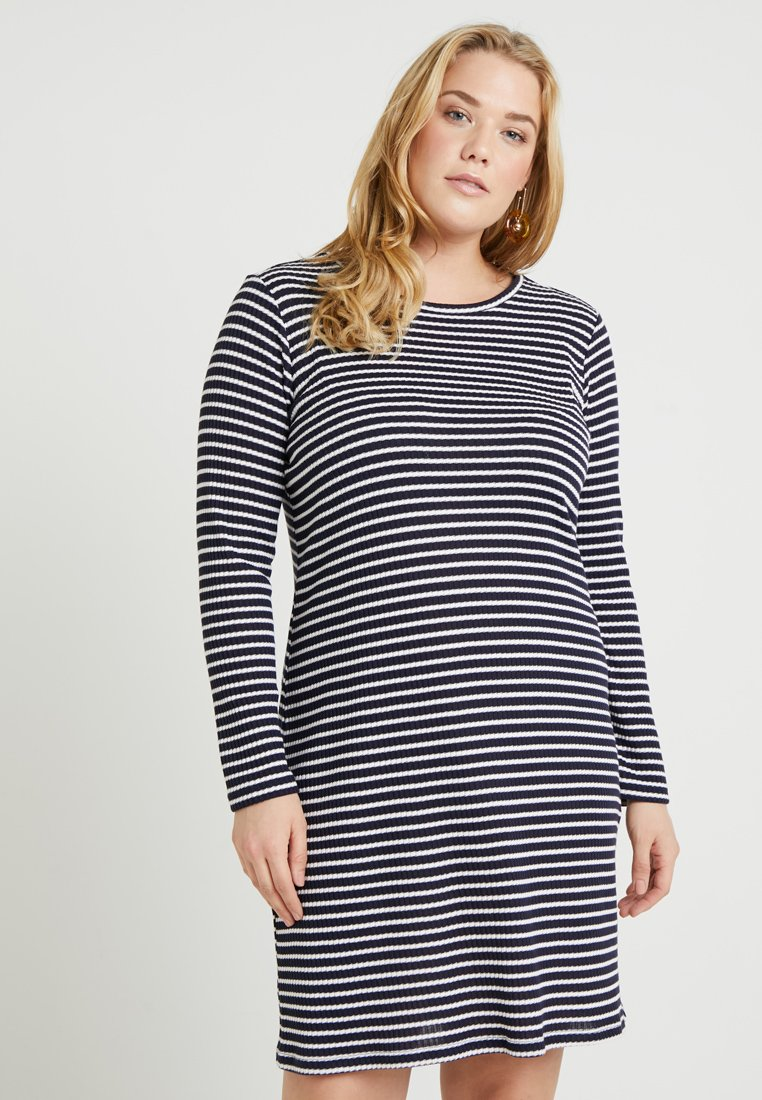 MICHAEL Michael Kors - PLUS STRIPED DRESS - Pletené šaty - true navy/white