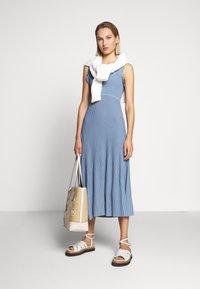 MICHAEL Michael Kors - PLEATED RUFFL DRESS - Strikket kjole - chambray - 1