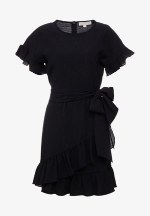 RUFFLE WRAP DRESS - Korte jurk - black