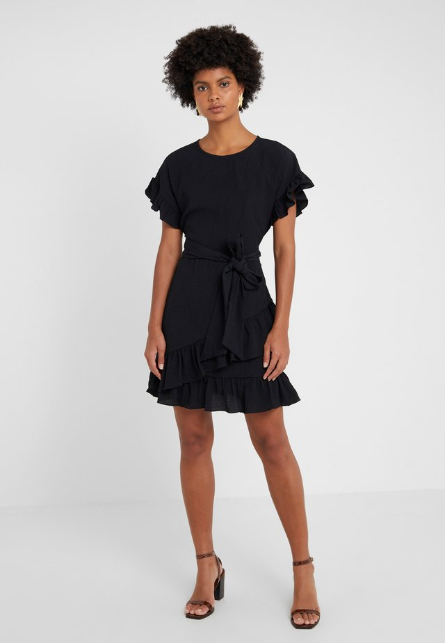 RUFFLE WRAP DRESS - Vestido informal - black