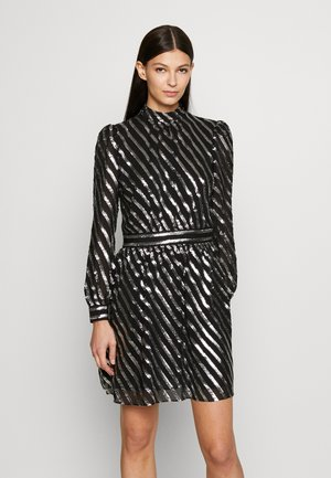 MOCK NECK - Korte jurk - black/silver