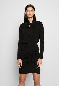 MICHAEL Michael Kors - TIE NECK MINI DRESS - Etui-jurk - black - 0