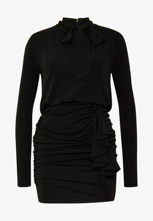 TIE NECK MINI DRESS - Pouzdrové šaty - black