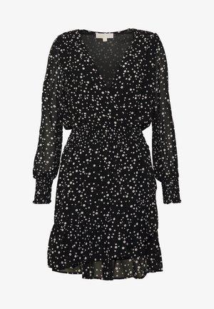 RUFFLE WRAP DRESS - Vestito estivo - black/bone