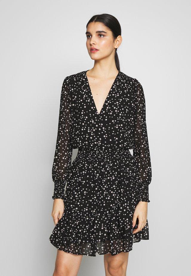RUFFLE WRAP DRESS - Day dress - black/bone