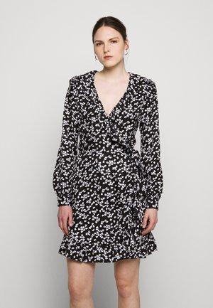 RUFFLE WRAP DRESS - Vestito estivo - black