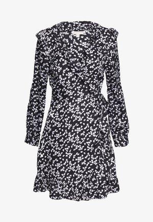 RUFFLE WRAP DRESS - Denní šaty - black