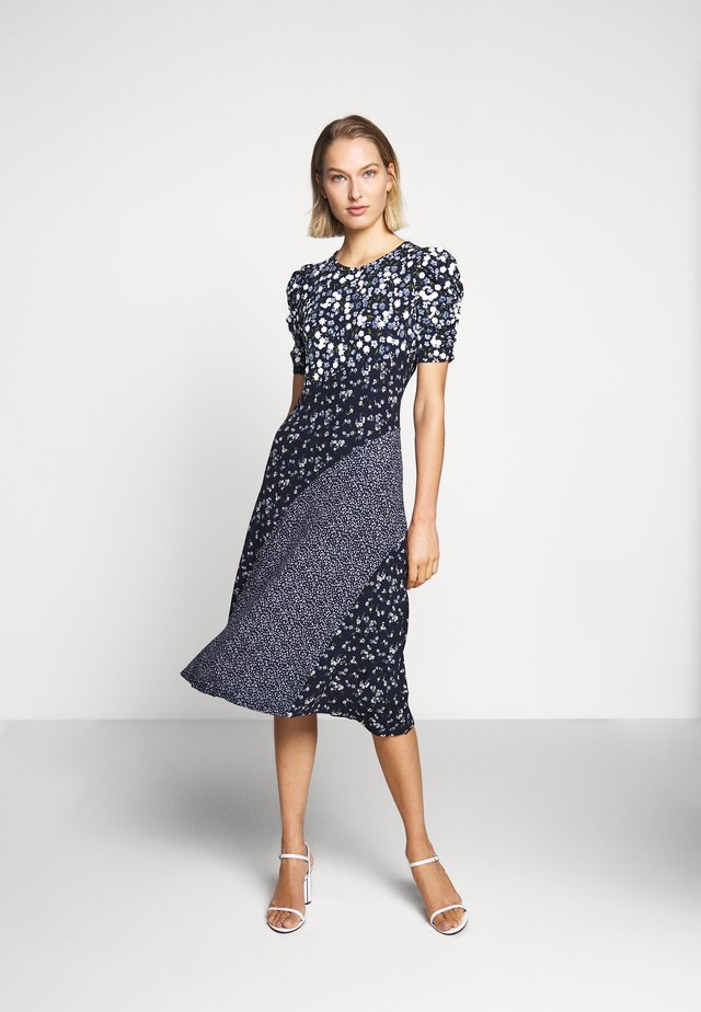 FLORAL MIX DRESS - Jerseykjoler - chambray
