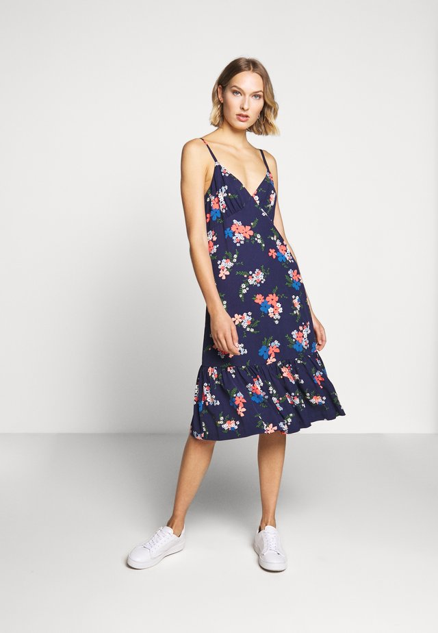 MULTI FLORAL SLIP DRESS - Korte jurk - coral peach