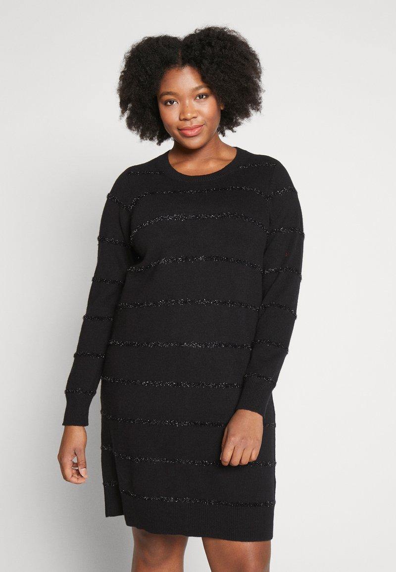MICHAEL Michael Kors - TINSEL STRIPE DRESS - Pletené šaty - black