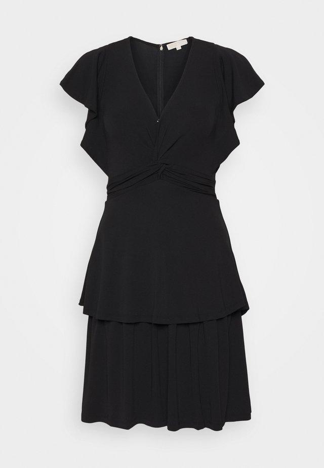 TWIST RUFFLE DRESS - Sukienka z dżerseju - black