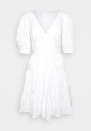 V NECK PUFF DRESS - Vestido informal - white