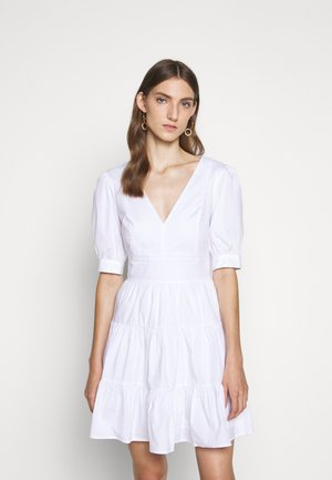 V NECK PUFF DRESS - Day dress - white